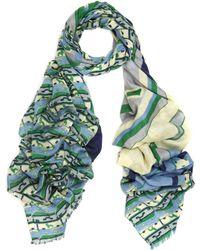 Yarnz - Green Suitcase Print Scarf - Lyst