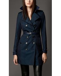 Burberry Cotton Gabardine Leather Detail Trench Coat - Lyst