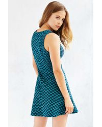 Cooperative - Two-tone Textured Knit Skater Dress - Lyst