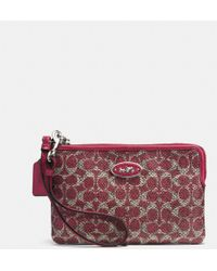 Coach Small Lzip Wristlet in Signature Coated Canvas - Lyst