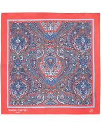 Simon Carter - Red Paisley Pocket Square - Lyst