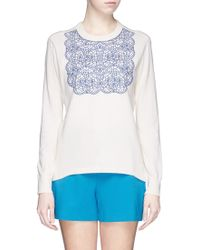 Tory Burch 'Mindi' Floral Lace Appliqué Sweater - Lyst