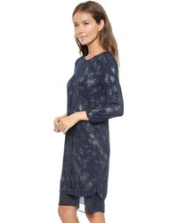 Rebecca Taylor Foil Printed Dress Navy Silver - Lyst