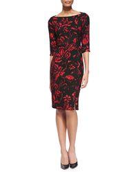 Black Halo Marissa Floral-print Crepe Sheath Dress - Lyst