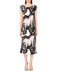 Issa Britt Horse-Print Silk-Blend Dress - For Women - Lyst