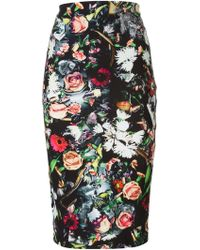 McQ by Alexander McQueen Floral Print Pencil Skirt - Lyst