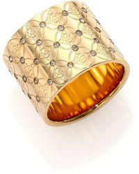Michael Kors Heritage Monogram Logo Barrel Ring gold - Lyst