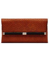 Diane von Furstenberg 440 Envelope Weaved Leather Clutch red - Lyst