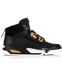 Versace Baroque-Shield High-Top Leather Trainers - Lyst