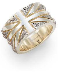 Stephen Webster Sterling Silver Union Jack Ring - Metallic