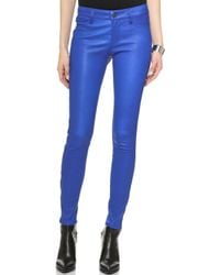 J Brand Leather Jeans - Electric Blue - Lyst