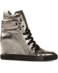 Casadei Concealed Wedge Hightop Sneakers - Lyst