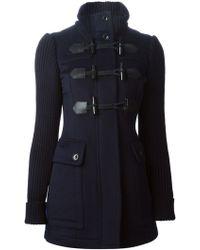 Burberry London Knit Sleeve Duffle Coat - Lyst