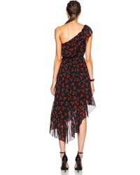 Saint Laurent - Cherry Georgette One Shoulder Ruffle Dress - Lyst