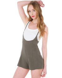 Akira Black Label - At The Surface Romper - Olive - Lyst