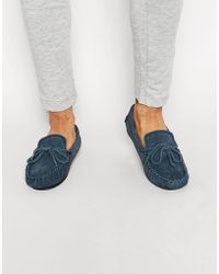 Dunlop Suede Slippers - Blue