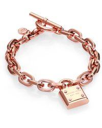 Michael Kors Padlock Charm Bracelet/Rose - Lyst