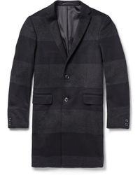Kolor Wool--Cashmere Striped Overcoat - Blue