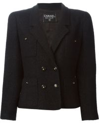 Chanel Double-Breasted Jacket black - Lyst