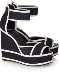 Pierre Hardy Leather-Trimmed Denim Wedge Sandals - Lyst