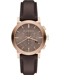 Burberry - Bu9752 Men'S The City Two Tone Chronograph Leather Strap Watch - Lyst