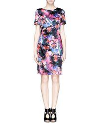 St. John Floralscape Print Satin Sheath Dress multicolor - Lyst
