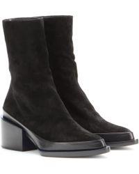 Jil Sander Suede Ankle Boots - Black