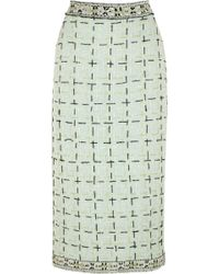 Meadham Kirchhoff Mikel Embroidered Wool-bouclé Midi Skirt - Lyst