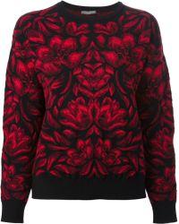Alexander McQueen Red Jacquard Sweater - Lyst