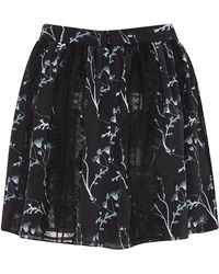 Thakoon Addition Lace-trimmed Printed Crepe Skirt - Black