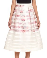 Kay Unger Striped Floral Midi Skirt - Lyst