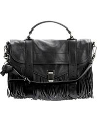 Proenza Schouler Ps1 Medium Fringe Leather Tote black - Lyst