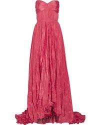 Oscar de la Renta Strapless Crinkled-Taffeta Gown - Lyst