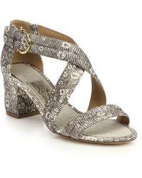 Ferragamo Magis Lizard-Embossed Leather Criss-Cross Sandals gray - Lyst