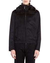 Giorgio Armani Black Real Fur Trim Coat - Lyst