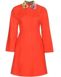 Valentino Wool and Silk Dress with Leather Collar - Lyst