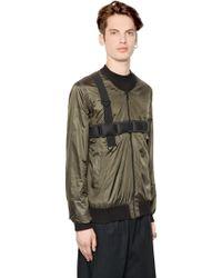 Letasca Nylon Bomber Jacket W/ Strap Details - Natural