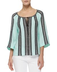 Nanette Lepore 3/4-Sleeve Woven Striped Peasant Top - Lyst