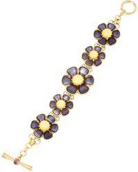 Betsey Johnson Purple Faceted Stone Flower Toggle Bracelet