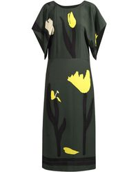 Marni Draped-Sleeve Floral-Print Dress - Lyst