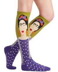 Socksmith Frida Be Me Socks in Green and Purple - Lyst