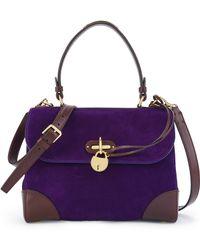 Ralph Lauren Small Suede Top-Handle Satchel purple - Lyst