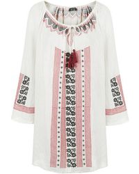 Topshop Embroidered Tassel Dress - Lyst