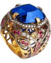 Queensbee - Square Flower Ring - Lyst