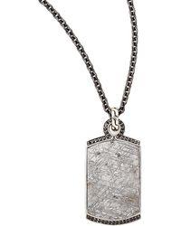 John Hardy Batu Mens Meteorite  Black Sapphire Dog Tag Necklace - Lyst