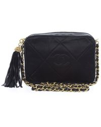 Chanel Pre-owned Leather  Nylon Quilted Tassel Camera Bag - Lyst