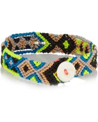 Dezso by Sara Beltran - Shark Tooth Woven Cotton And Silver Friendship Bracelet - Lyst
