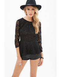 Forever 21 Sheer Lace Peplum Top - Lyst