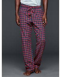Gap Broome Plaid Flannel Pj Pants - Red