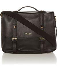 Ted Baker Broguing Leather Messenger Bag - Lyst